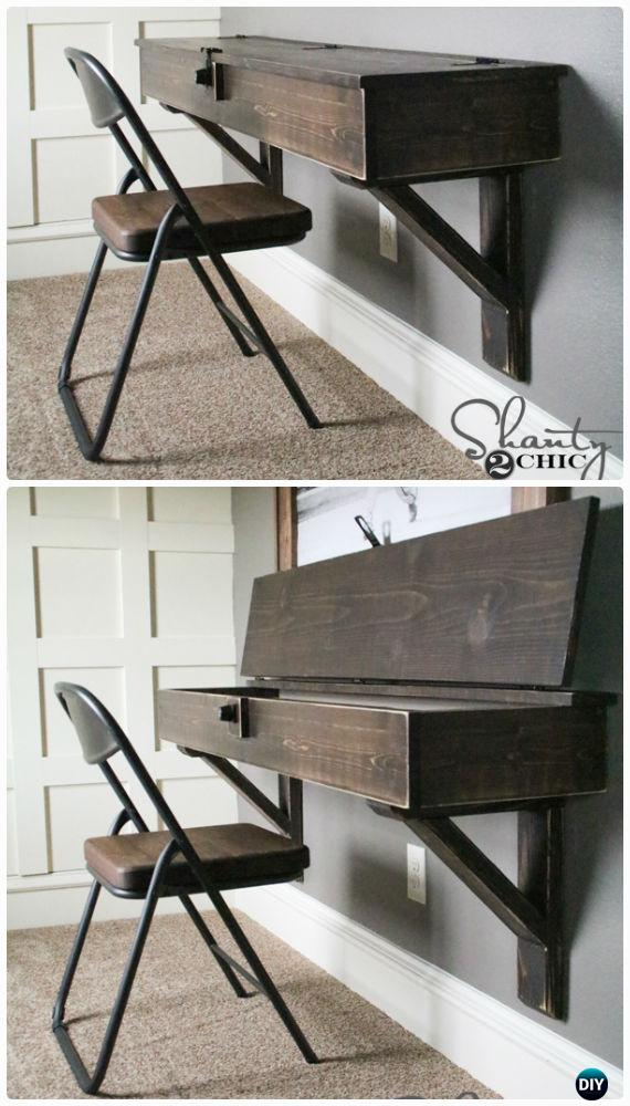 DIY Floating Desk with Storage Instructions - Back-To-School Kids Furniture DIY Ideas Projects