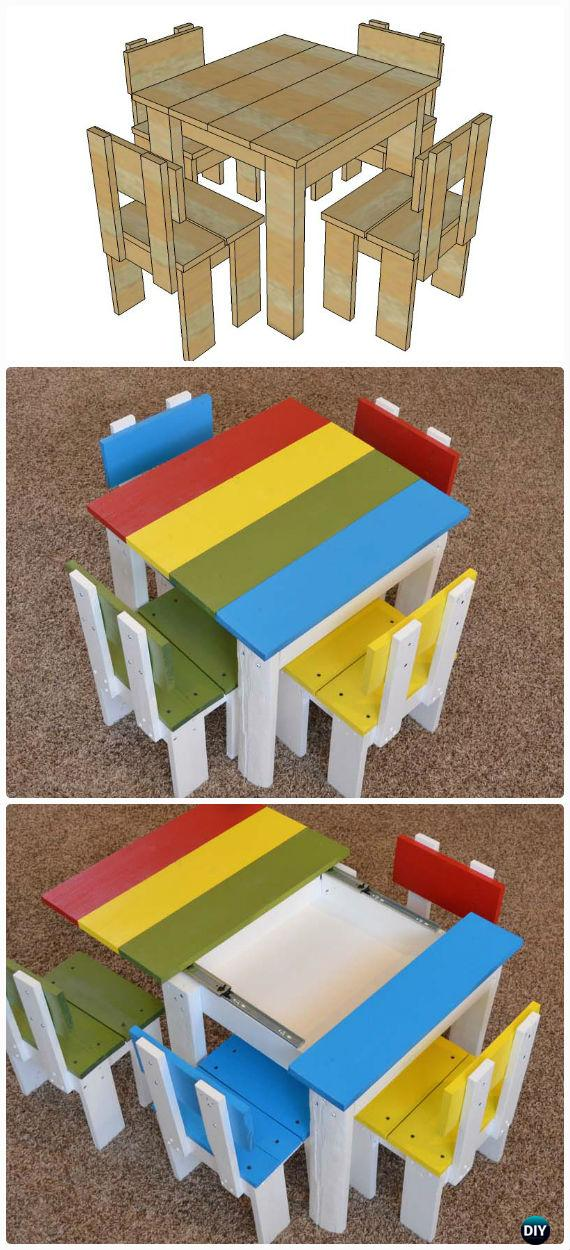 DIY Simple Kid's Table and Chair Set Free Plan Instructions - Back-To-School Kids Furniture DIY Ideas Projects
