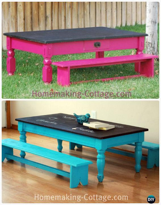 DIY Kid's Chalkboard Table with Benches Instructions - Back-To-School Kids Furniture DIY Ideas Projects