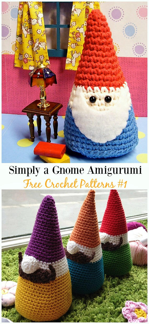 Simply a Gnome Amigurumi Crochet Free Pattern -  Free#Amigurumi; #Gnome; Toy Softies Crochet Patterns