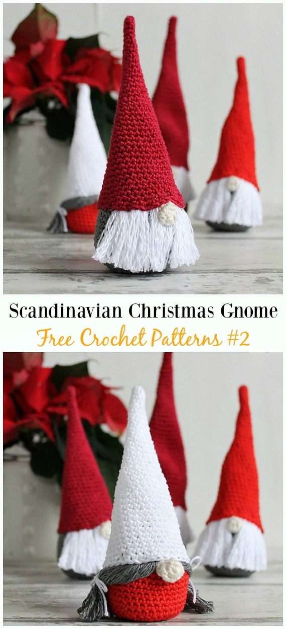 Scandinavian Christmas Gnome Amigurumi Crochet Free Pattern -  Free#Amigurumi; #Gnome; Toy Softies Crochet Patterns