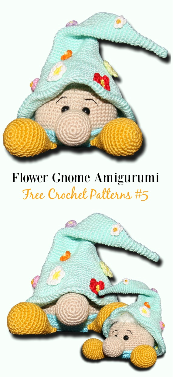 Flower Gnome Amigurumi Crochet Free Pattern -  Free#Amigurumi; #Gnome; Toy Softies Crochet Patterns