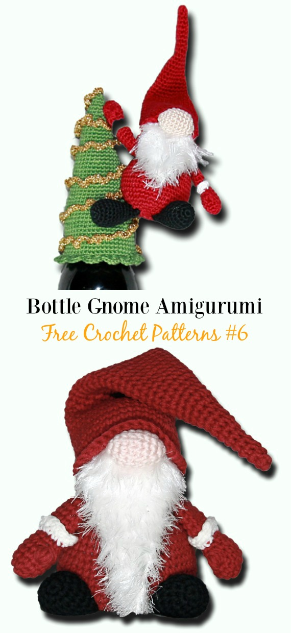 Bottle Gnome Amigurumi Crochet Free Pattern -  Free#Amigurumi; #Gnome; Toy Softies Crochet Patterns