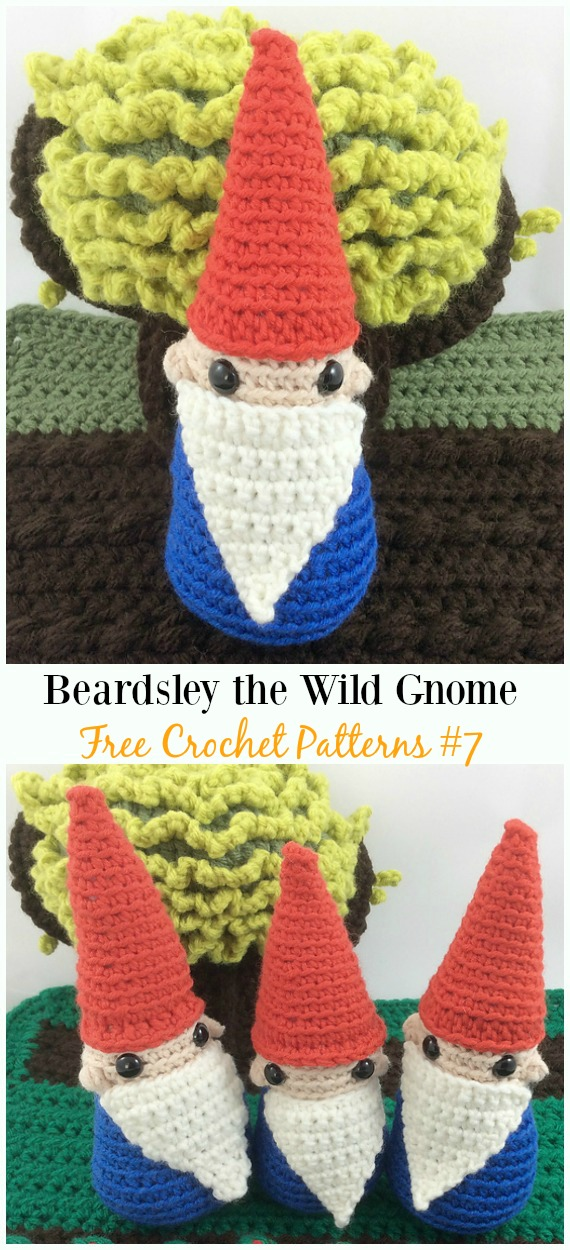 Beardsley the Wild Gnome Amigurumi Crochet Free Pattern -  Free#Amigurumi; #Gnome; Toy Softies Crochet Patterns