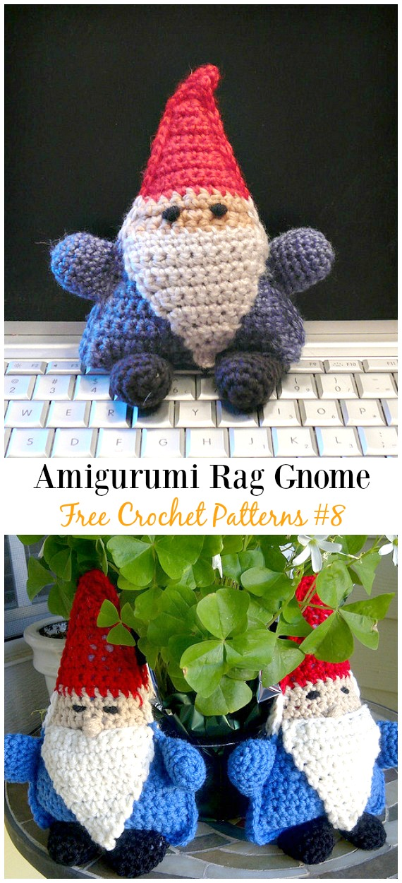 Rag Gnome Amigurumi Crochet Free Pattern -  Free#Amigurumi; #Gnome; Toy Softies Crochet Patterns