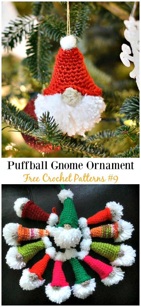 Puffball Gnome Ornament Amigurumi Crochet Free Pattern -  Free#Amigurumi; #Gnome; Toy Softies Crochet Patterns