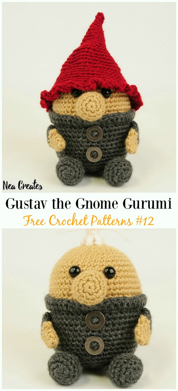 Gustav the Gnome Amigurumi Crochet Free Pattern -  Free#Amigurumi; #Gnome; Toy Softies Crochet Patterns