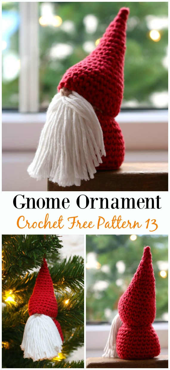 Christmas  Gnome Ornament Amigurumi Crochet Free Pattern -  Free#Amigurumi; #Gnome; Toy Softies Crochet Patterns