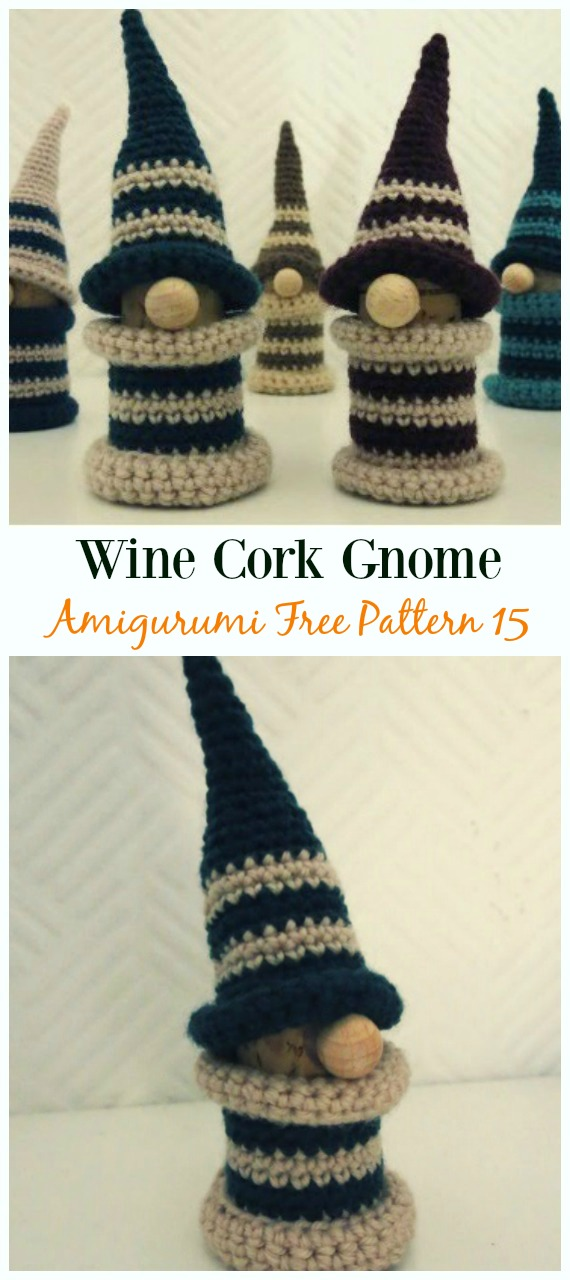 Wine Cork Gnome Amigurumi  Crochet Free Pattern -  Free#Amigurumi; #Gnome; Toy Softies Crochet Patterns