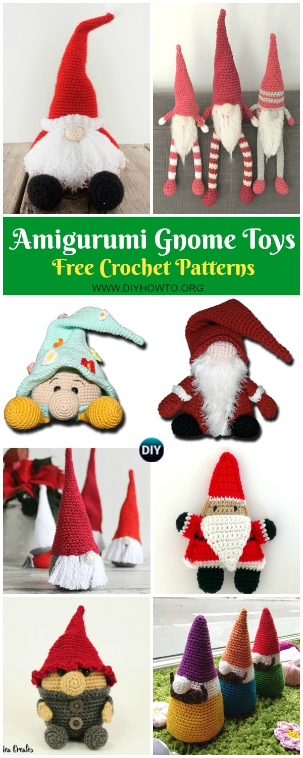 Collection of Free Amigurumi Gnome Toy Softies Crochet Patterns: Crochet Triangle Gnome, Cone Gnome, Christmas Gnome, Flower Gnome, Santa Gonk and More