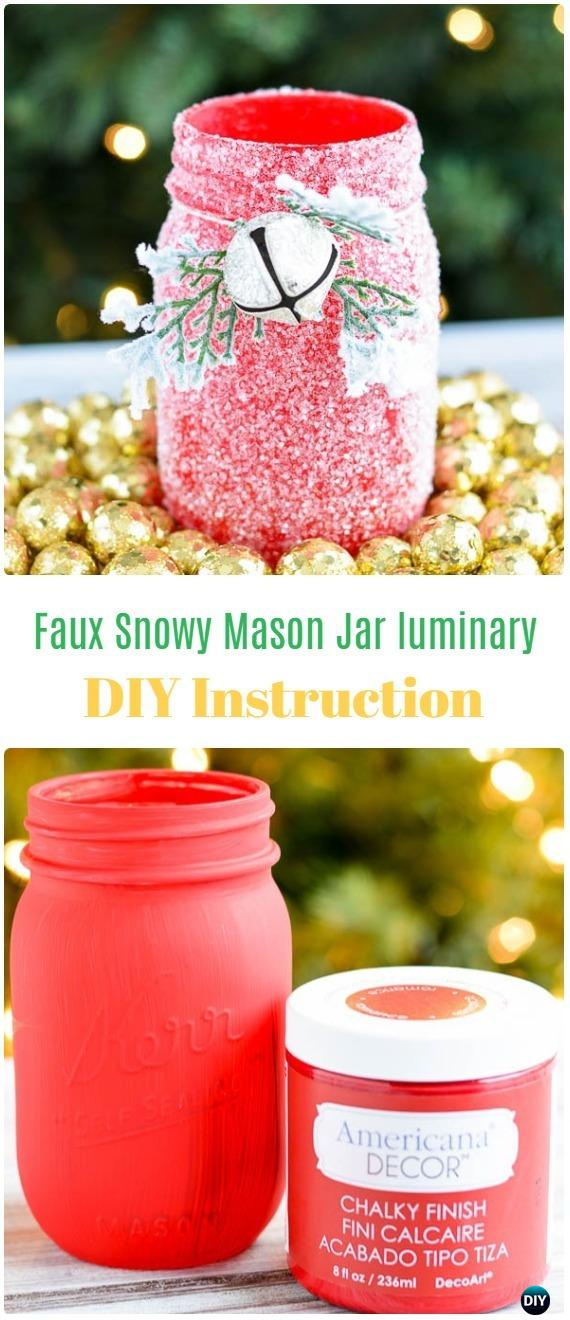 DIY Faux Snow Glitter Mason Jar Luminary Tutorial - Frosted Mason Jar Glass Container Craft Projects DIY Instructions
