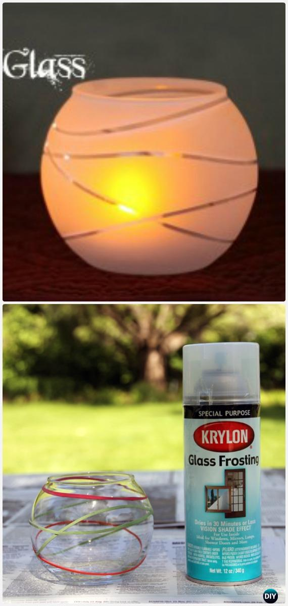 DIY Frosted Glass Luminary Tutorial - Frosted Mason Jar Glass Container Craft Projects DIY Instructions