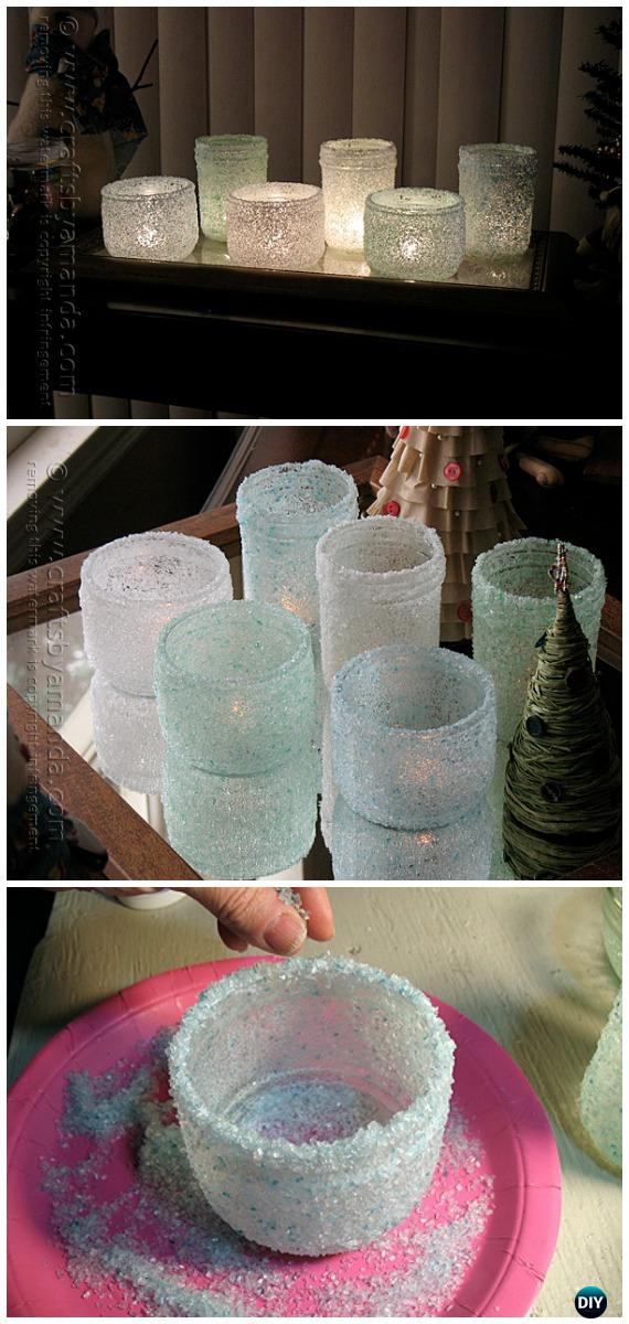 DIY Epsom Salt Luminaries Tutorial - Frosted Mason Jar Glass Container Craft Projects DIY Instructions