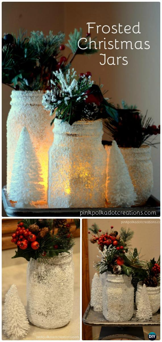 DIY Frosted Christmas Jars Tutorial - Frosted Mason Jar Glass Container Craft Projects DIY Instructions