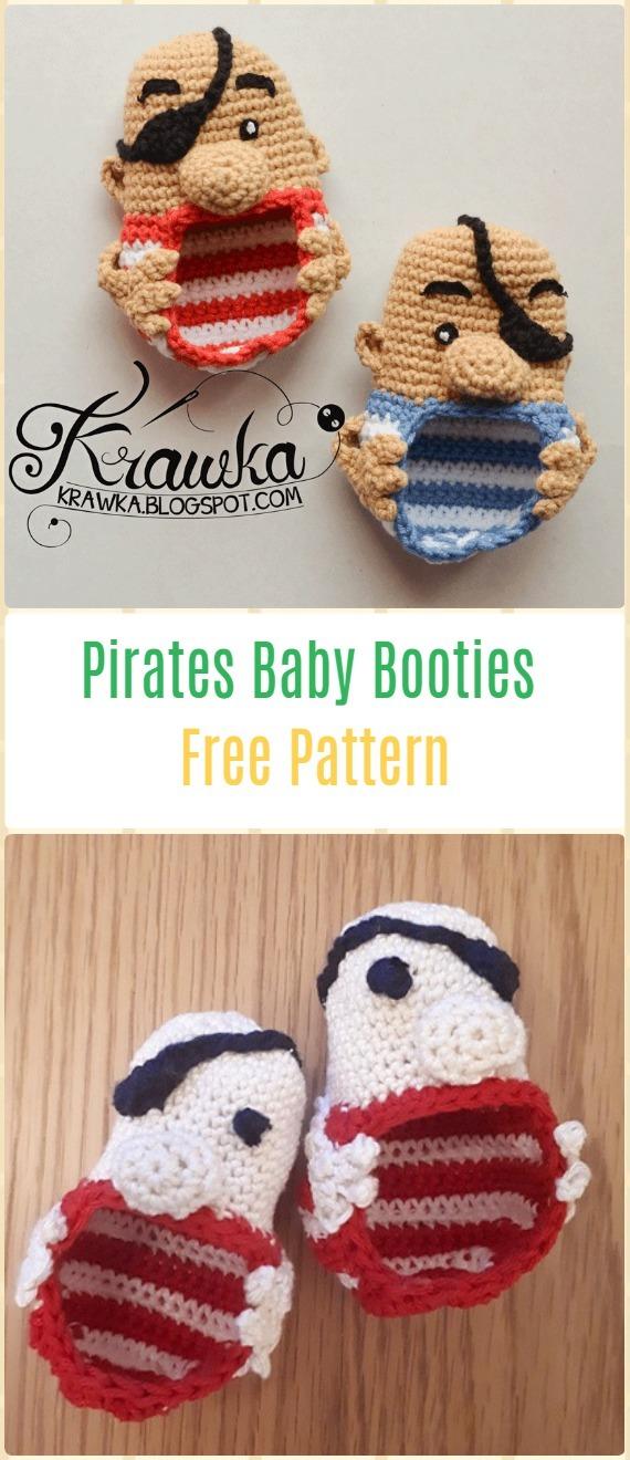 Crochet Pirates Baby BootiesFree Pattern - Fun Crochet Baby Booties Free Patterns