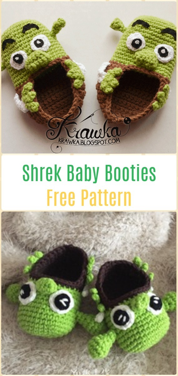 Crochet Shrek Baby Booties Free Pattern – Fun Crochet Baby Booties Free  Patterns 0083d3a4fb2