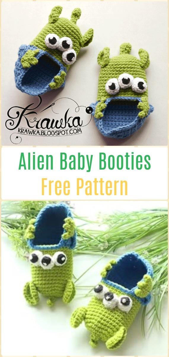 Crochet Alien Baby BootiesFree Pattern - Fun Crochet Baby Booties Free Patterns