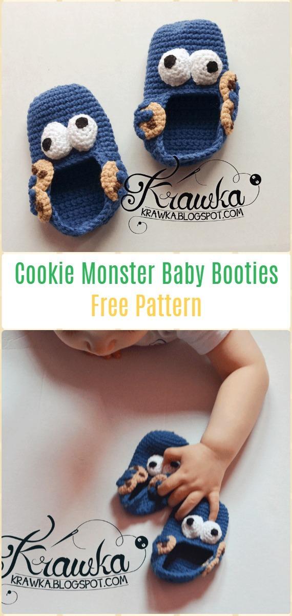 Crochet Cookie MonsterFree Pattern - Fun Crochet Baby Booties Free Patterns