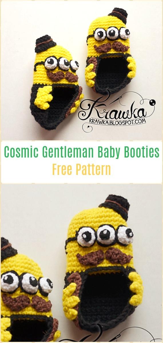 Crochet Cosmic Gentleman Baby BootiesFree Pattern - Fun Crochet Baby Booties Free Patterns