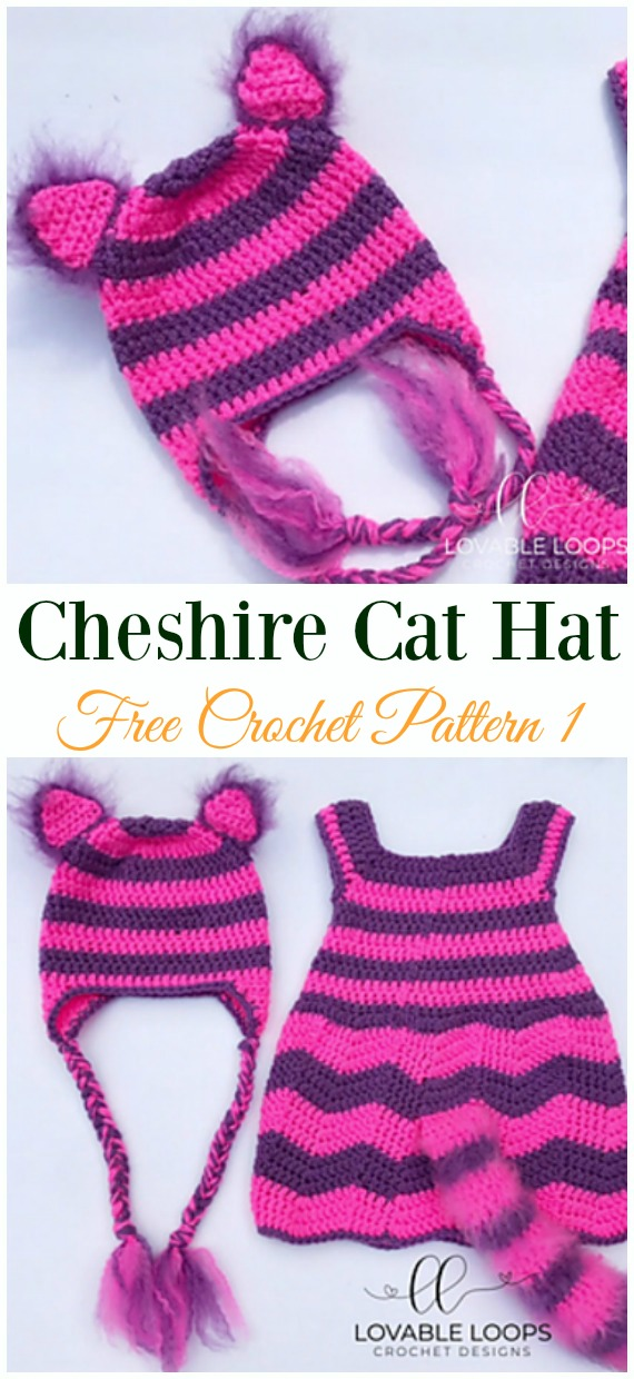 Cheshire Cat Hat Crochet Free Pattern - Fun Kids #Cat; #Hat; #Crochet; Patterns