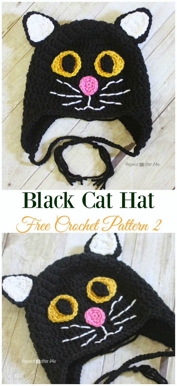 Black Cat Hat Crochet Free Pattern - Fun Kids #Cat; #Hat; #Crochet; Patterns