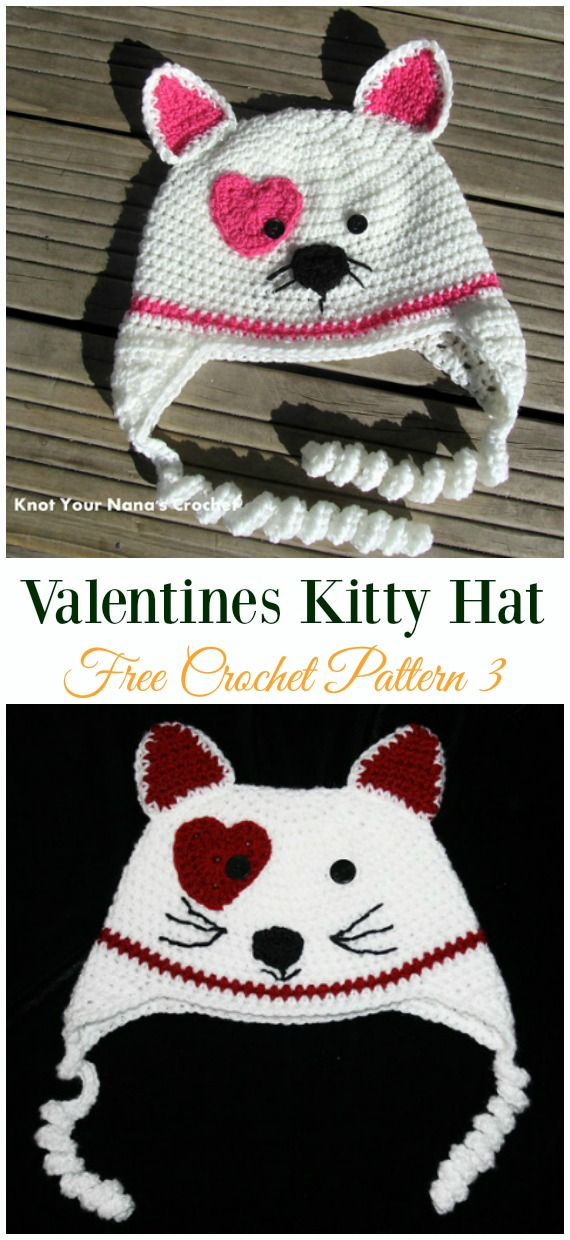 Valentines Kitty Hat Crochet Free Pattern - Fun Kids #Cat; #Hat; #Crochet; Patterns