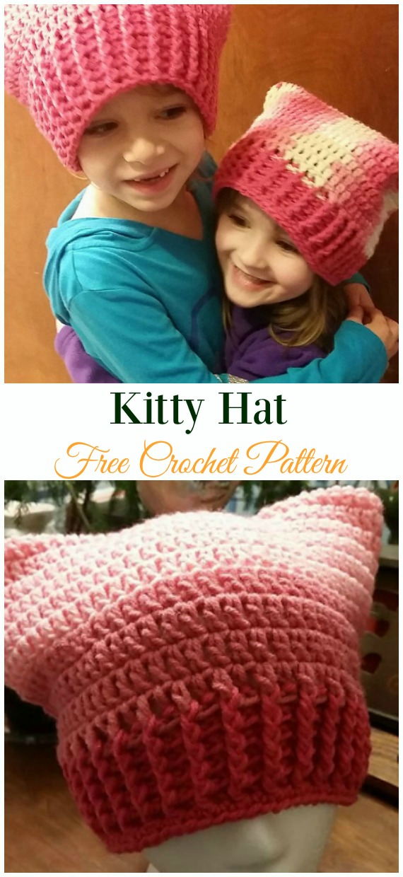 Kitty Hat Crochet Free Pattern - Fun Kids #Cat; #Hat; #Crochet; Patterns