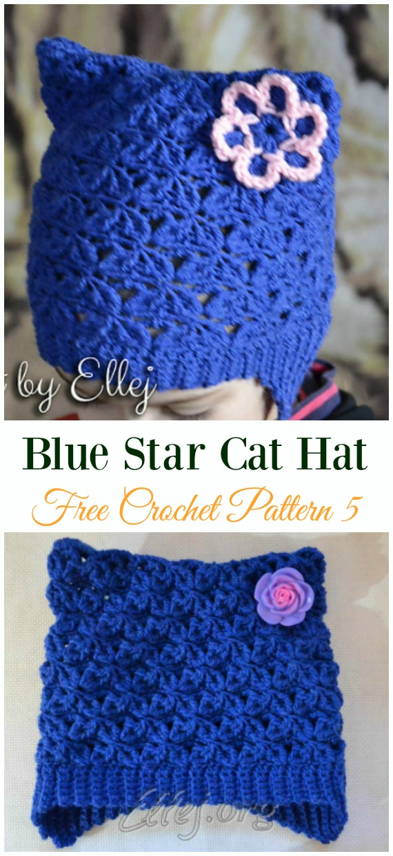 Blue Star Cat Hat with Cute Flower Crochet Free Pattern - Fun Kids #Cat; #Hat; #Crochet; Patterns