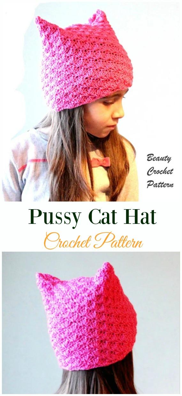 Pussy Cat HatCrochet Pattern -Fun Kids #Cat; #Hat; #Crochet; Patterns
