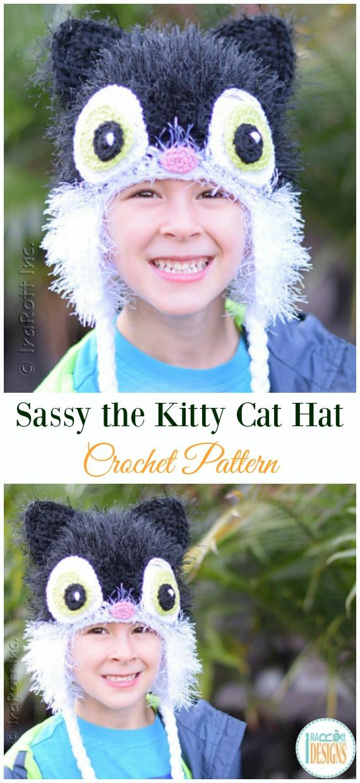 Sassy the Kitty Cat HatCrochet Pattern -Fun Kids #Cat; #Hat; #Crochet; Patterns