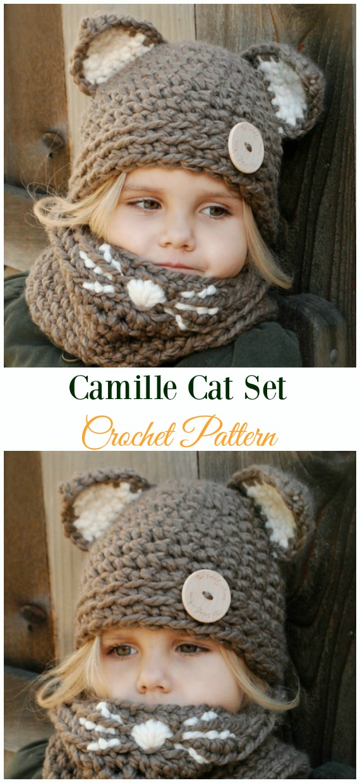 Camille Cat SetCrochet Pattern -Fun Kids #Cat; #Hat; #Crochet; Patterns