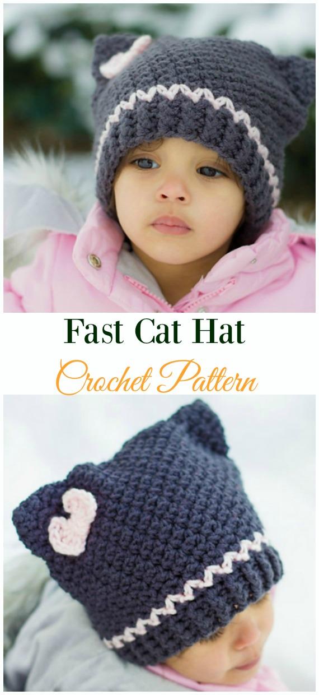 Fast Cat HatCrochet Pattern -Fun Kids #Cat; #Hat; #Crochet; Patterns