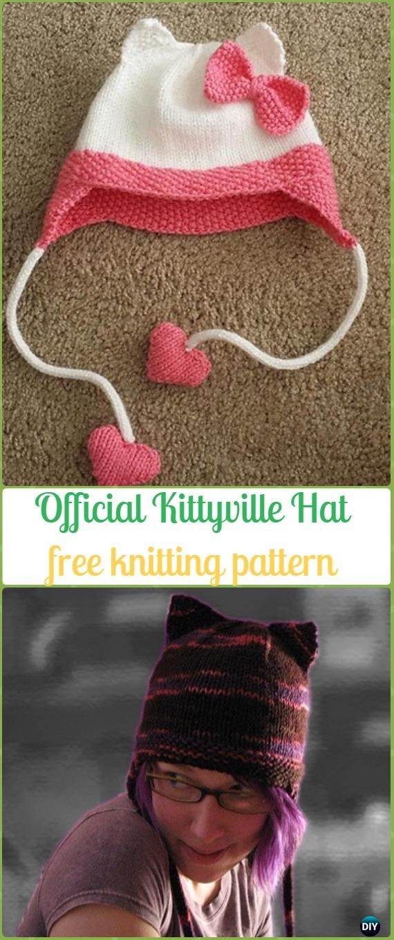 Knit Official Kittyville Hat Free Pattern - Fun Kitty Cat Hat Free Knitting Patterns