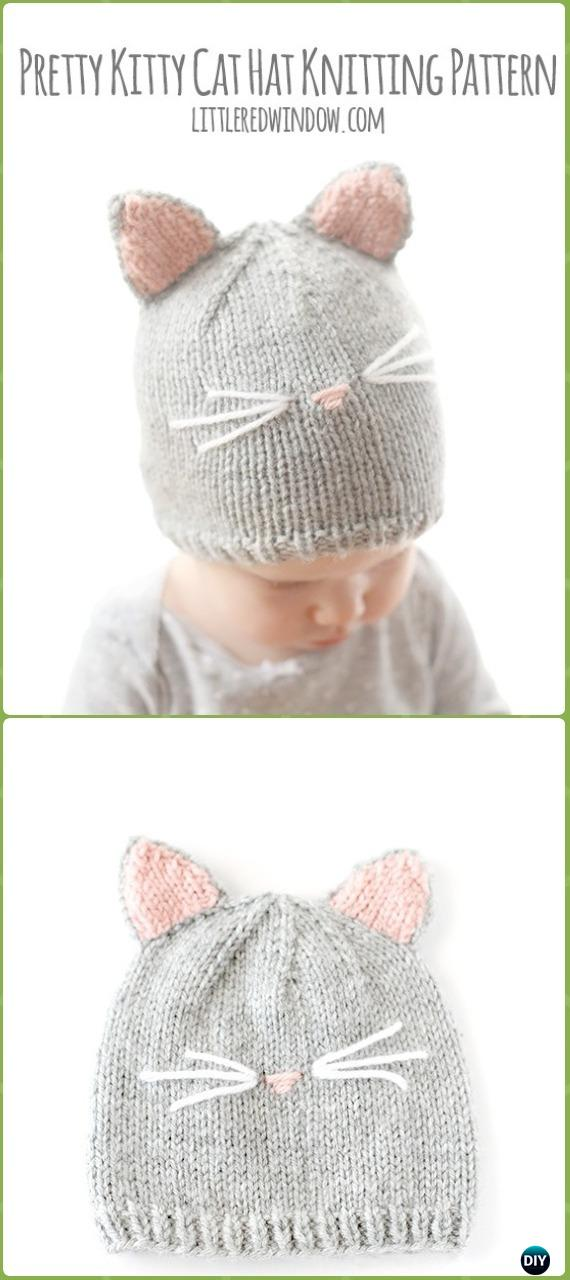 Knit Pretty Kitty Cat Hat Free Pattern - Fun Kitty Cat Hat Free Knitting Patterns