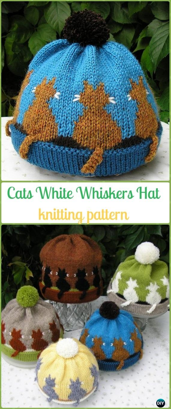 Knit Cat White Whiskers HatPaid Pattern - Fun Kitty Cat Hat Knitting Patterns