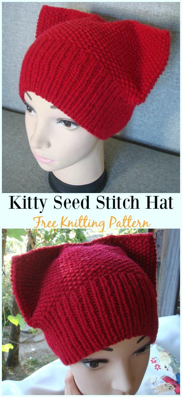 Kitty Seed Stitch Hat KnittingFree Pattern - Fun Kitty #Cat; #Hat; Free #Knitting; Patterns