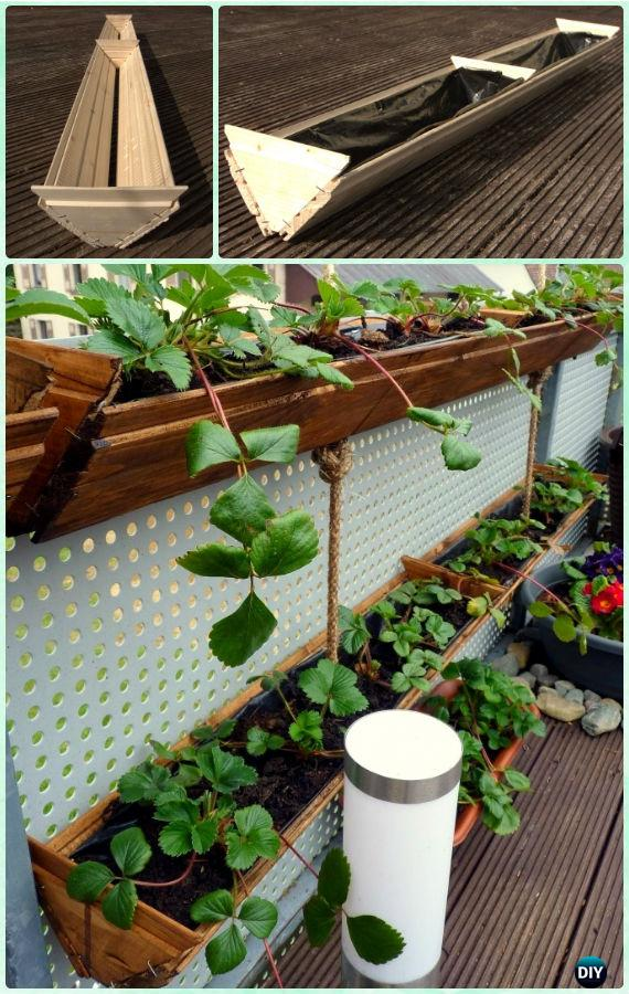 DIY Hanging strawberry Planter Box Instruction-Gardening Tips to Grow Vertical Strawberries Gardens