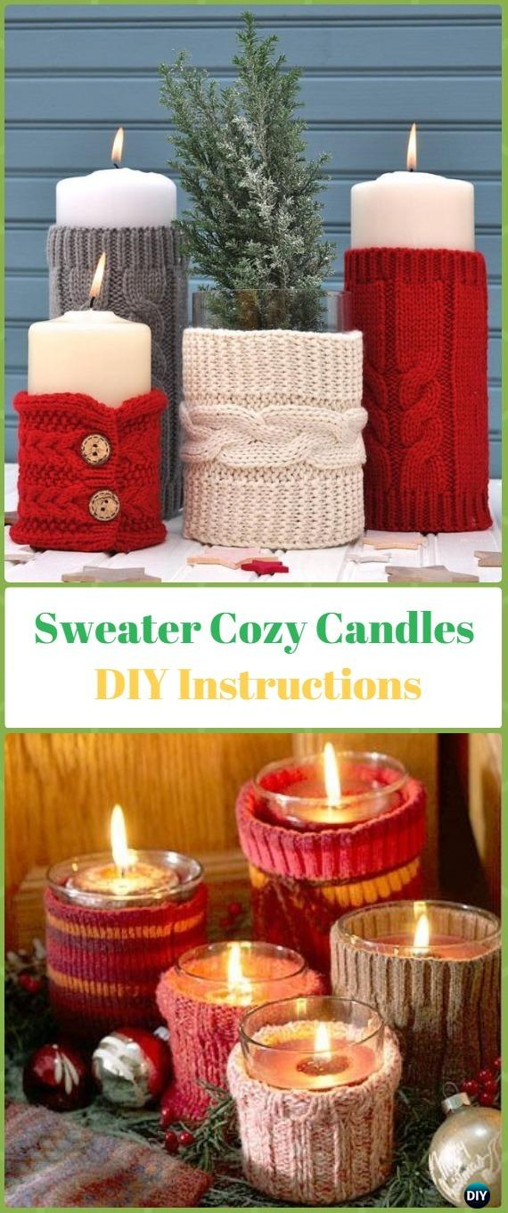 DIY Sweater Cozy Candles Instruction - Holiday Candle DIY Craft Ideas & Tutorials
