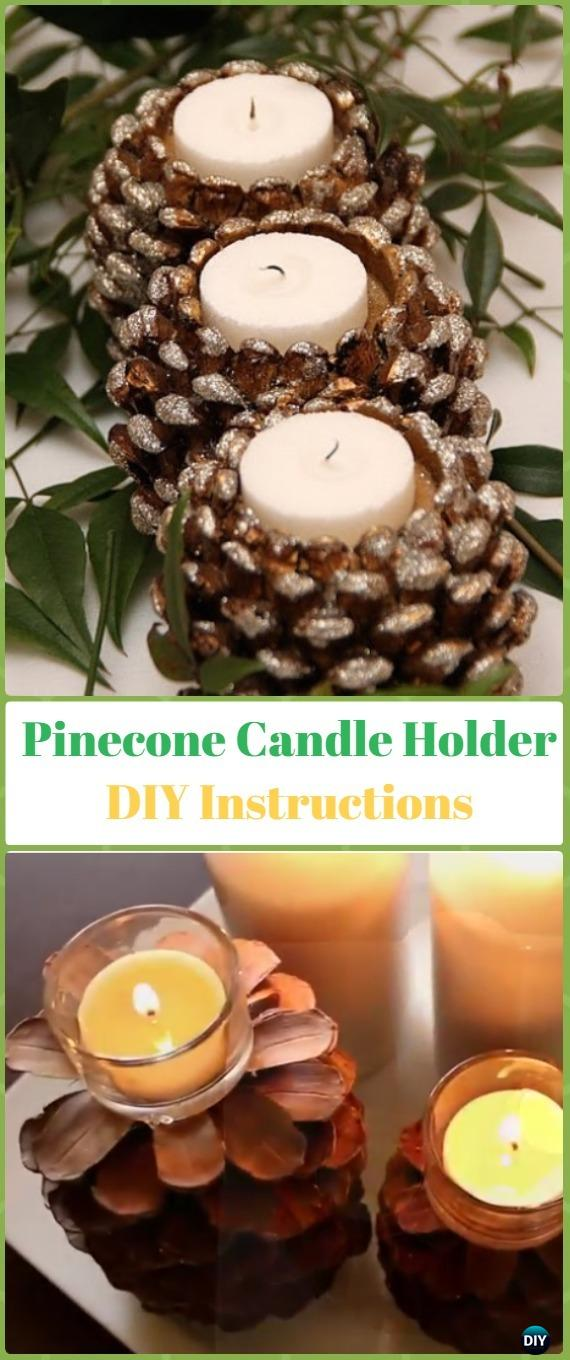 DIY Pinecone Candle Holder Instruction - Holiday Candle DIY Craft Ideas & Tutorials