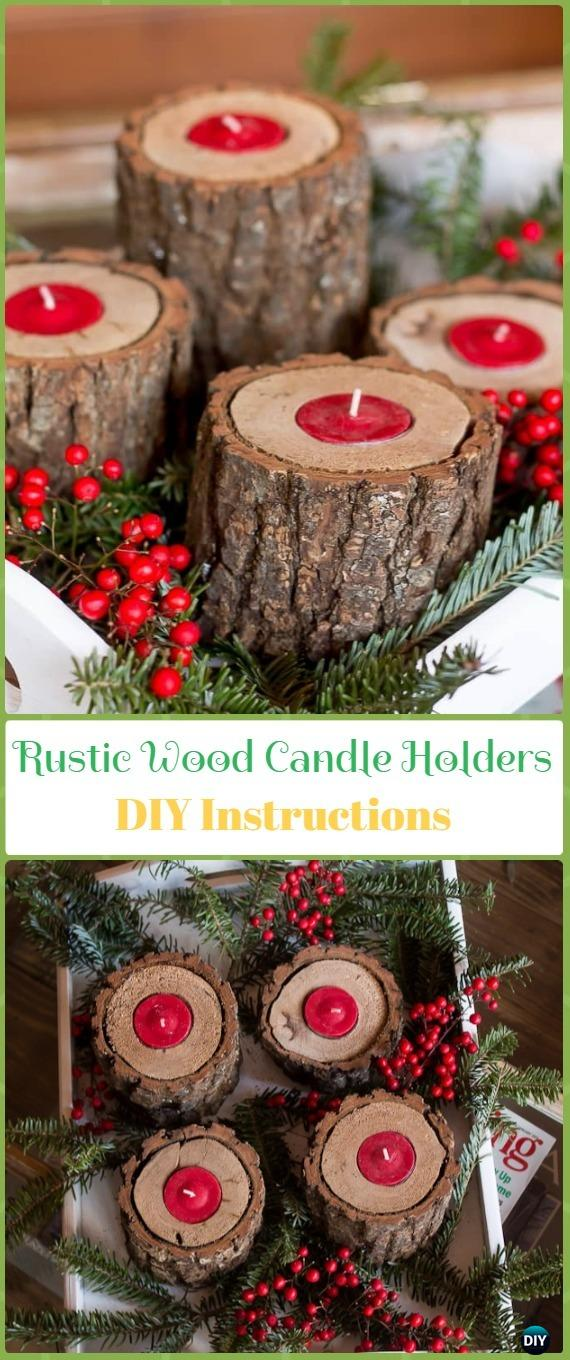 DIY Rustic Wood Candle holder Instruction - Holiday Candle DIY Craft Ideas & Tutorials