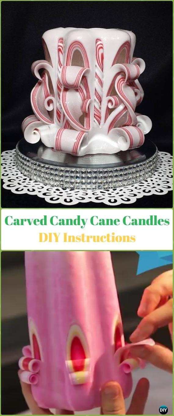 DIY Carved Candy Cane Candles Instruction - Holiday Candle DIY Craft Ideas & Tutorials