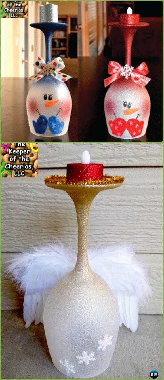 DIY Glitter Spray Christmas Wine Glass Candle Holder Instruction - Holiday Candle DIY Craft Ideas & Tutorials