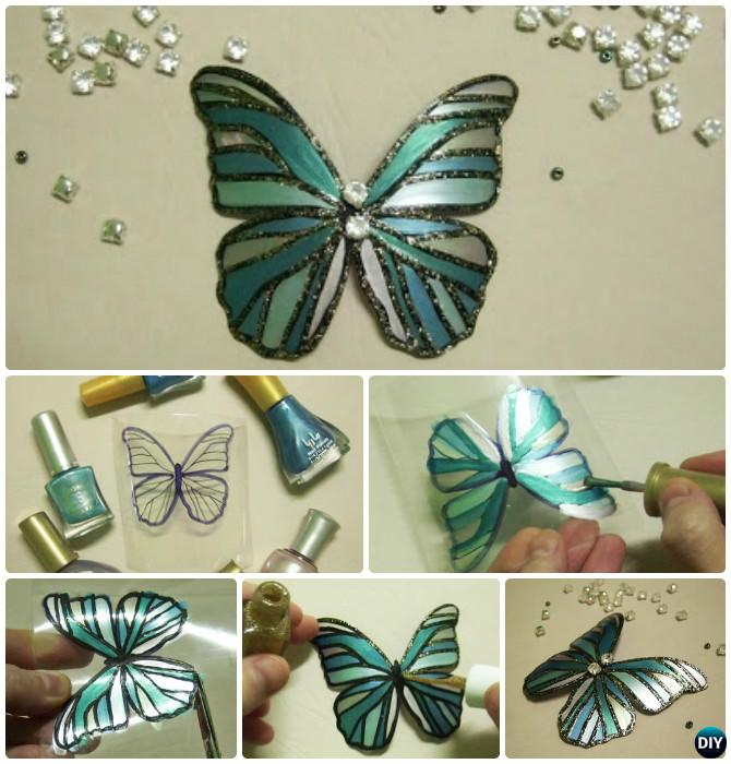 DIY Nail Pilish Plastic Bottle Butterfly Instruction Kid Friendly Crafts Ideas