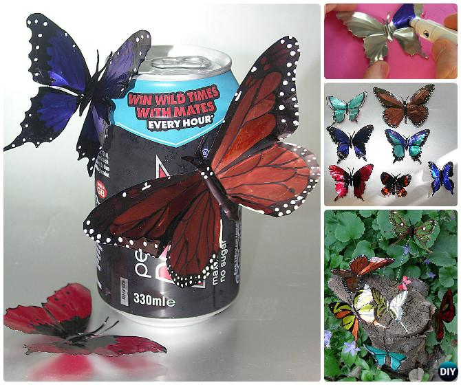 DIY Drinking Tin Can Butterfly Instruction--Kid-Friendly DIY Butterfly Crafts Ideas