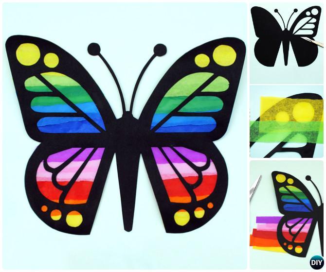 DIY Paper Butterfly Sun Catcher--Kid-Friendly DIY Butterfly Crafts Ideas