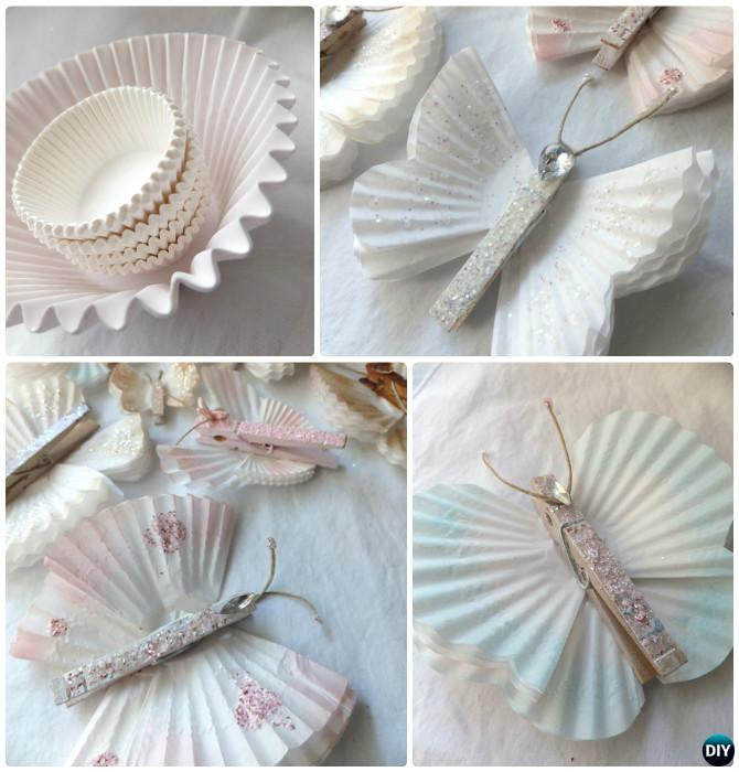 DIY Cupcake Liner Butterfly Instruction--Kid-Friendly DIY Butterfly Crafts Ideas