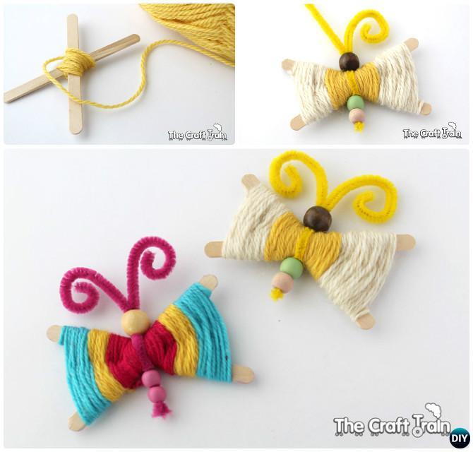 DIY Wood Stick Yarn Butterfly Instruction--Kid-Friendly DIY Butterfly Crafts Ideas