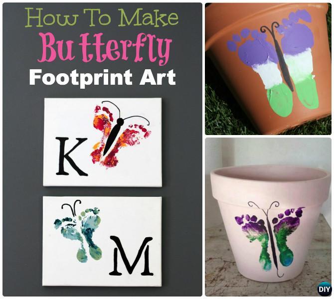 DIY Footprint Butterfly Instruction--Kid-Friendly DIY Butterfly Crafts Ideas