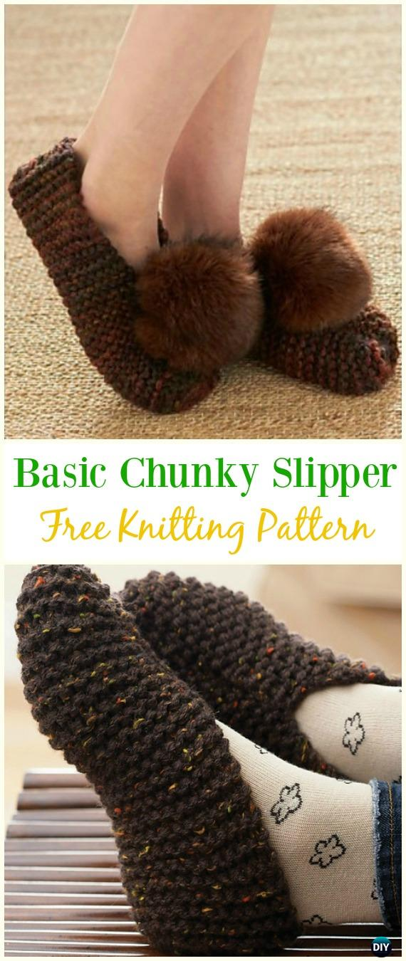 Basic Chunky Slipper Free Knitting Pattern Kniting Adult