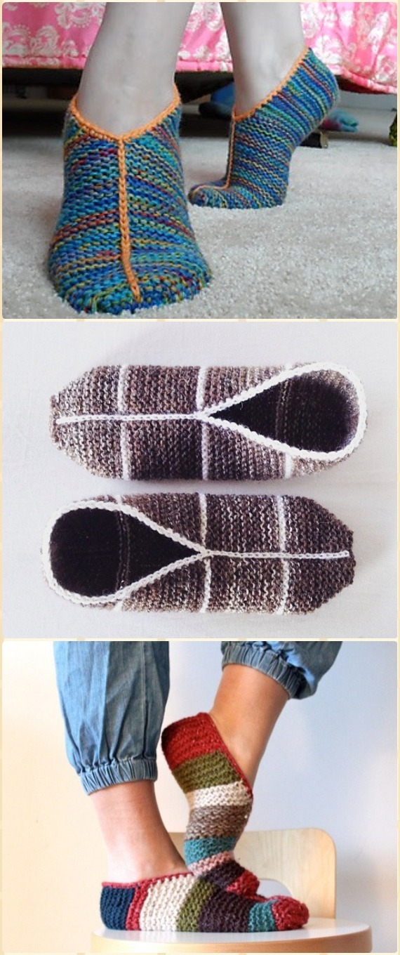 Knit Simple Garter Stitch Slippers Free Pattern - Knit Adult Slippers Free Patterns